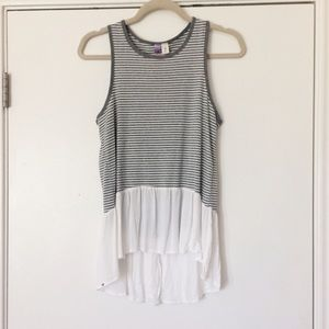 Striped Tank with White Ruffle